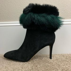 Sam Edelman 7 Black Emerald Suede Faux Fur Heels